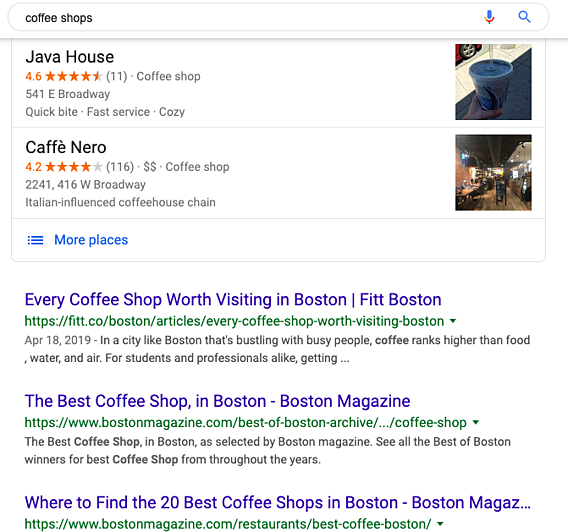 Localized results for a search conducted in Boston