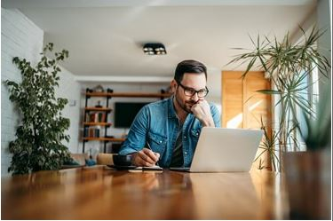 person studying marketing from home